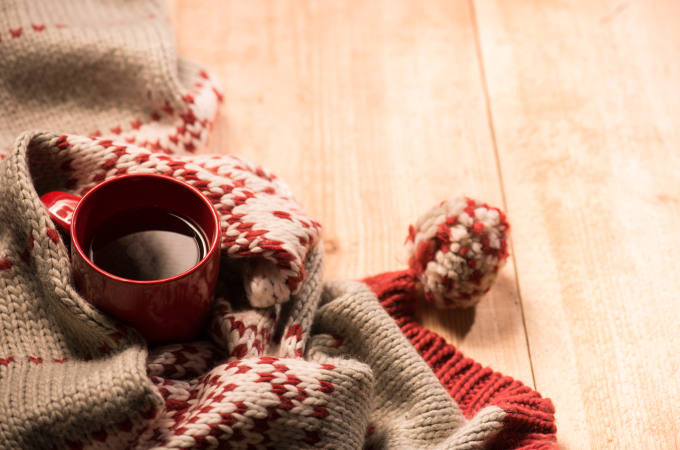 warm clothes and hot drink