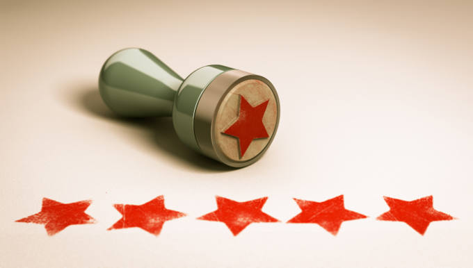 Excellent Customer Service Stamp and Stars Concept Image